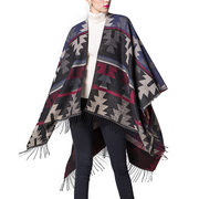 Women's India Print Poncho Shawl Wrap Cape Coat