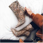 SNAKESKIN POINTED HIGH HEELS ANKLE BOOTS