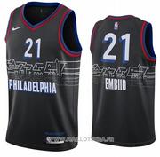 Philadelphia 76ers Joel Embiid NO 21 Ciudad 2020-21 Negro Jersey