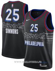 Philadelphia 76ers Jersey Ben Simmons NO 25 Ciudad 2020-21 Negro